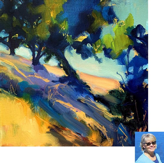 "Beverly i s a recent addition to the gallery and Austin. She works in both oil and acrylic and features landscapes. She says,  ""My work is always about a 'sense of place.' But color is also important. My experience of Texas landscape is still forming. It is grand and wide open. The media I chose has been oil, but even that is changing as I work through some acrylic compositions. That being said, I should probably add the 'sense of place' is quickly becoming Texas."""