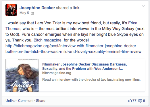 I couldn't help but include this screen cap from Josephine's Facebook page. Witty, hilarious, andsupremely generous!