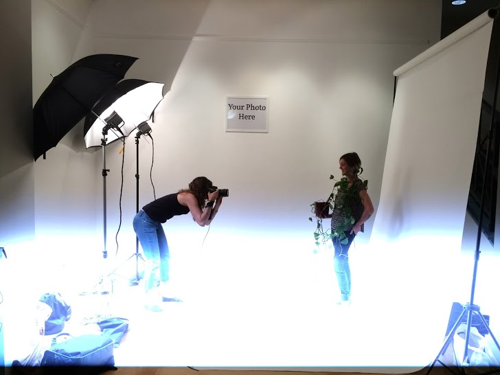 For the first phase of the project, we installed a photo studio into the gallery space. We invited anyone in the building to come in and be photographed with their chosen family. Participation started slowly, but grew more and more as the project went on.