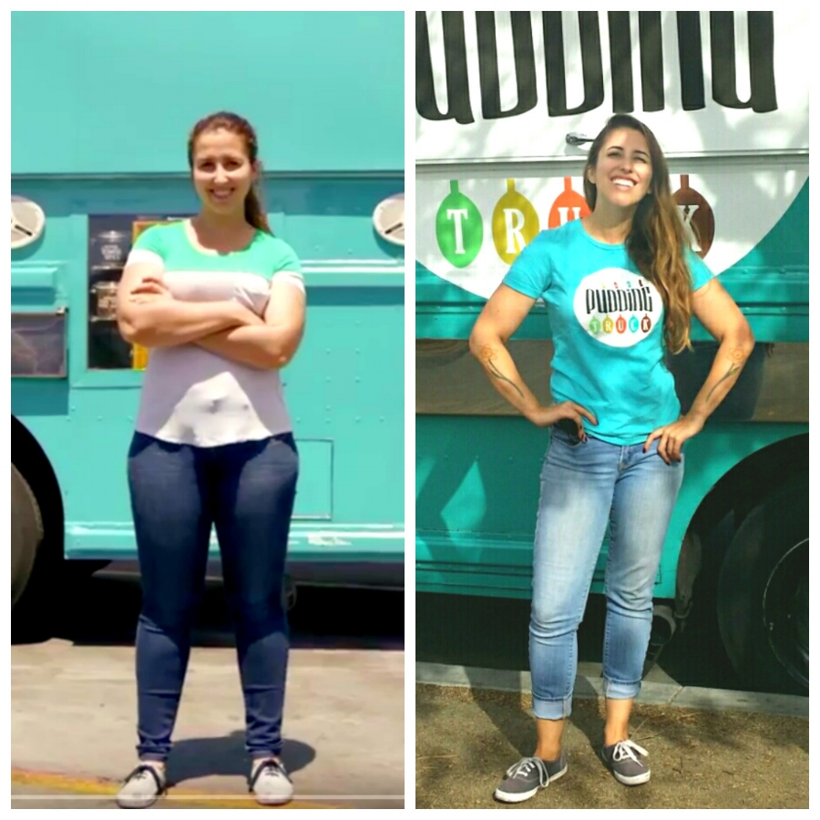 """Before and After: Me in May 2015 and again in October 2016 (in front of The Pudding Truck also in its """"before"""" phase... scroll down to see its """"after"""" too!)"""