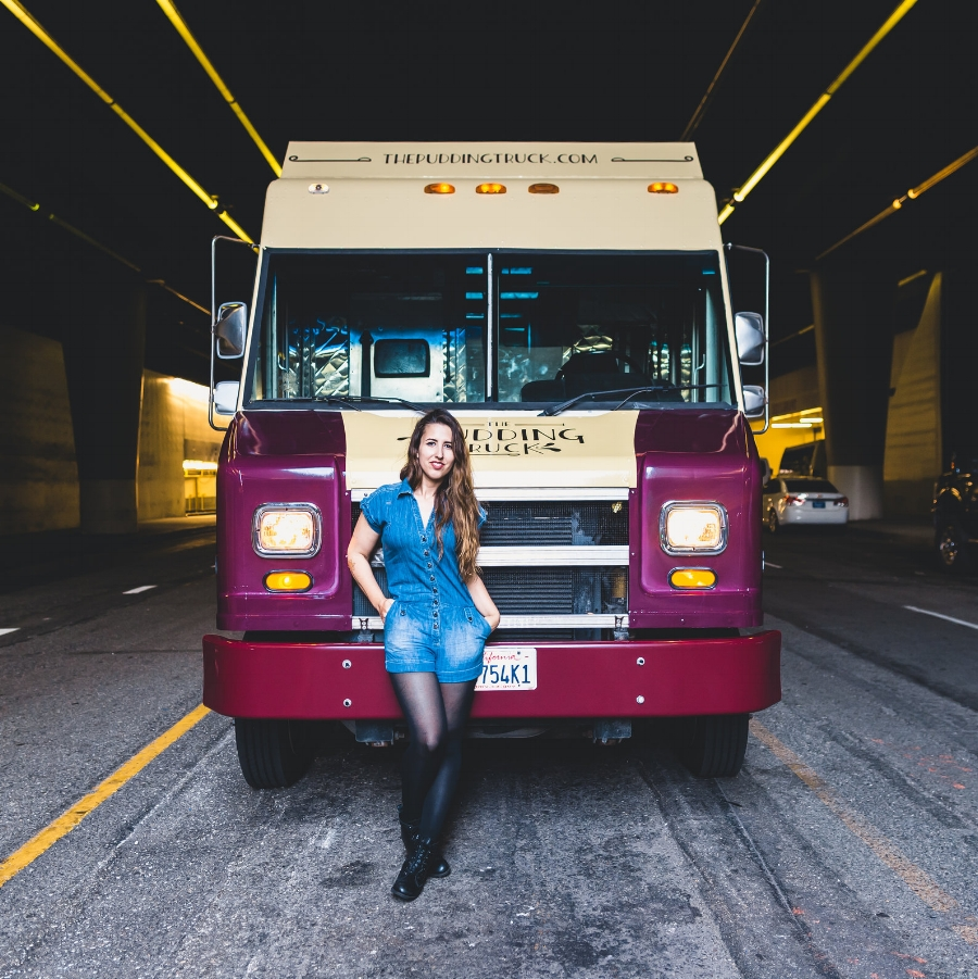 The Pudding Truck and me looking pretty snazzy (if we do say so ourselves)!