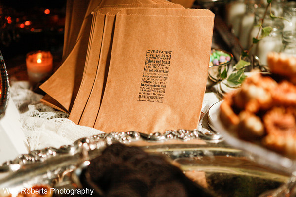 Kraft bags with beautiful stamped scripture for guests to take home a treat.