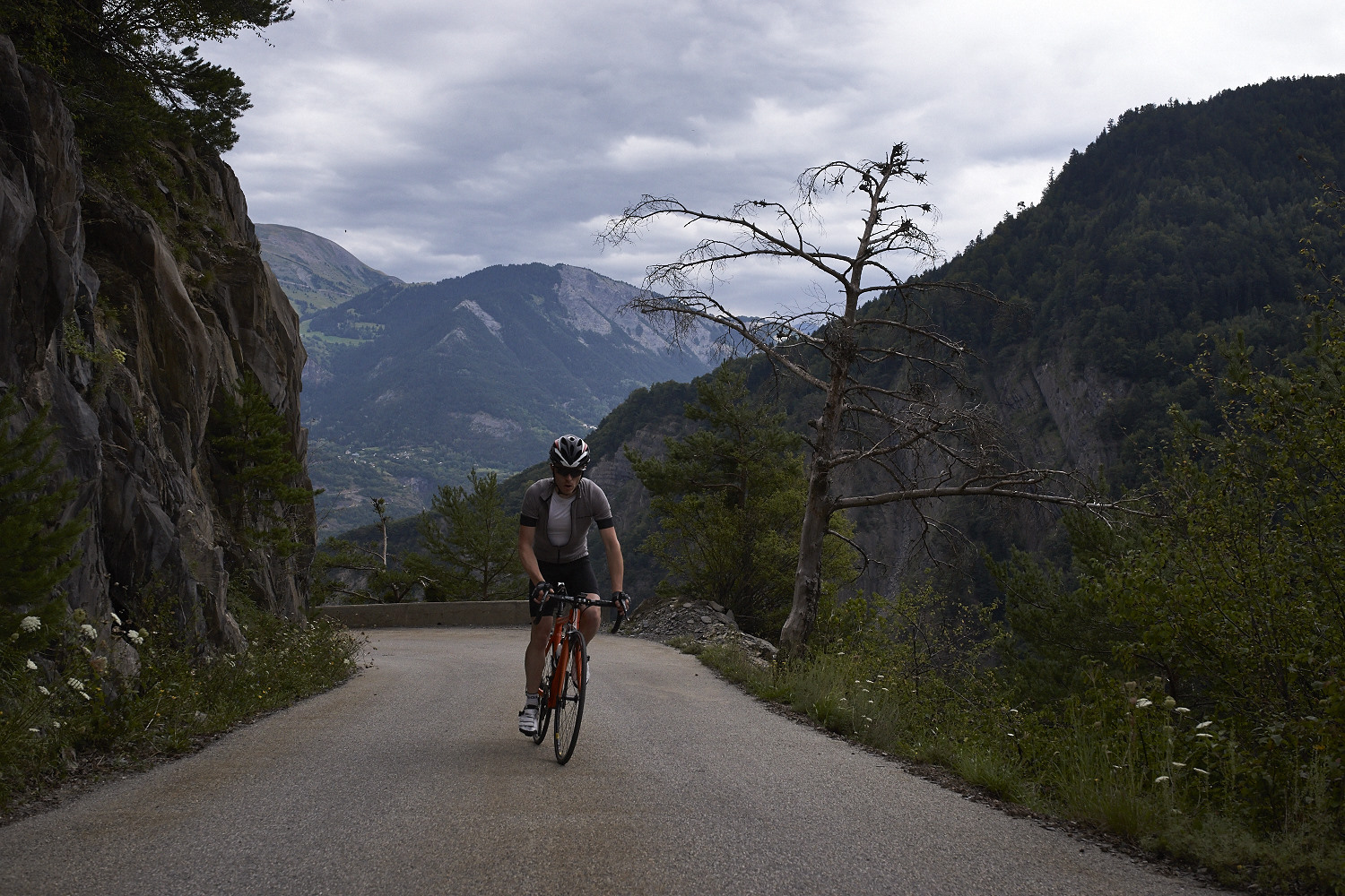 Riding in the Alps. This photo and cover page photo by Camille McMillan.