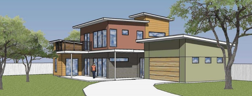 This is a SketchUp rendering of a contemporary, custom-build homeon S 4th street thatwe designed for a real estate developer. Our design takes advantage of the site and caters to the South Austin, outdoor lifestyle.