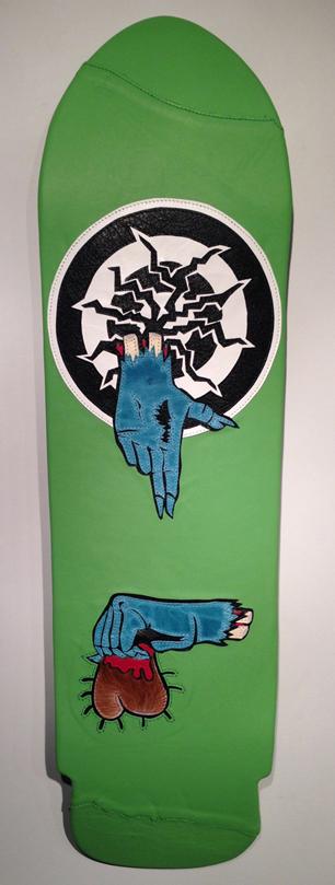 "Run the Jewels logo + 1984 Rob Roskopp Santa Cruz skateboard= ""Roskopp's Jewels""."