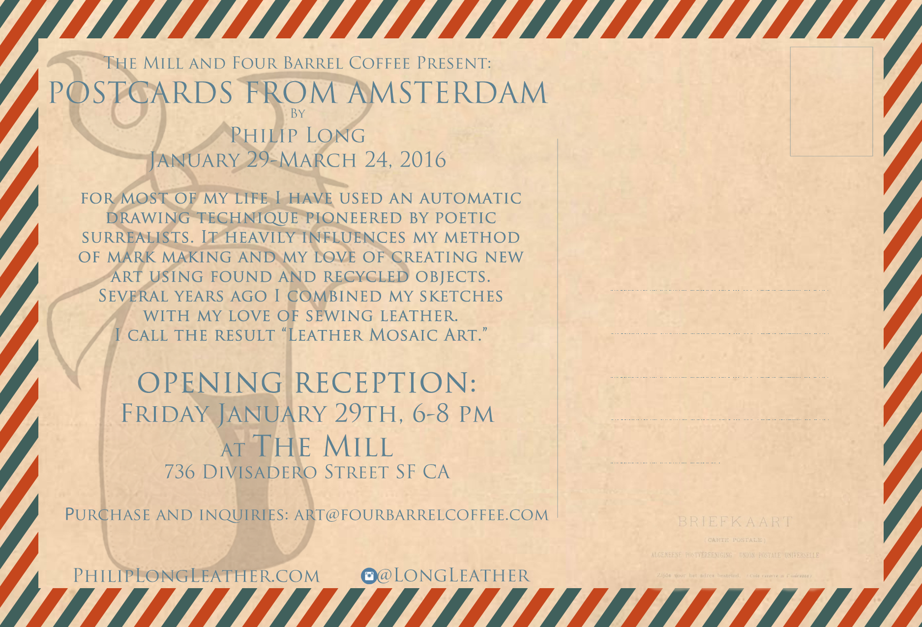 Back of postcard featuring ghost image of Windmill V (detail).