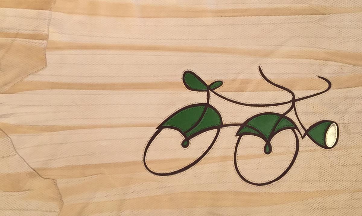 Beck's Bike IV (full) 2016. Leather and thread on wood.