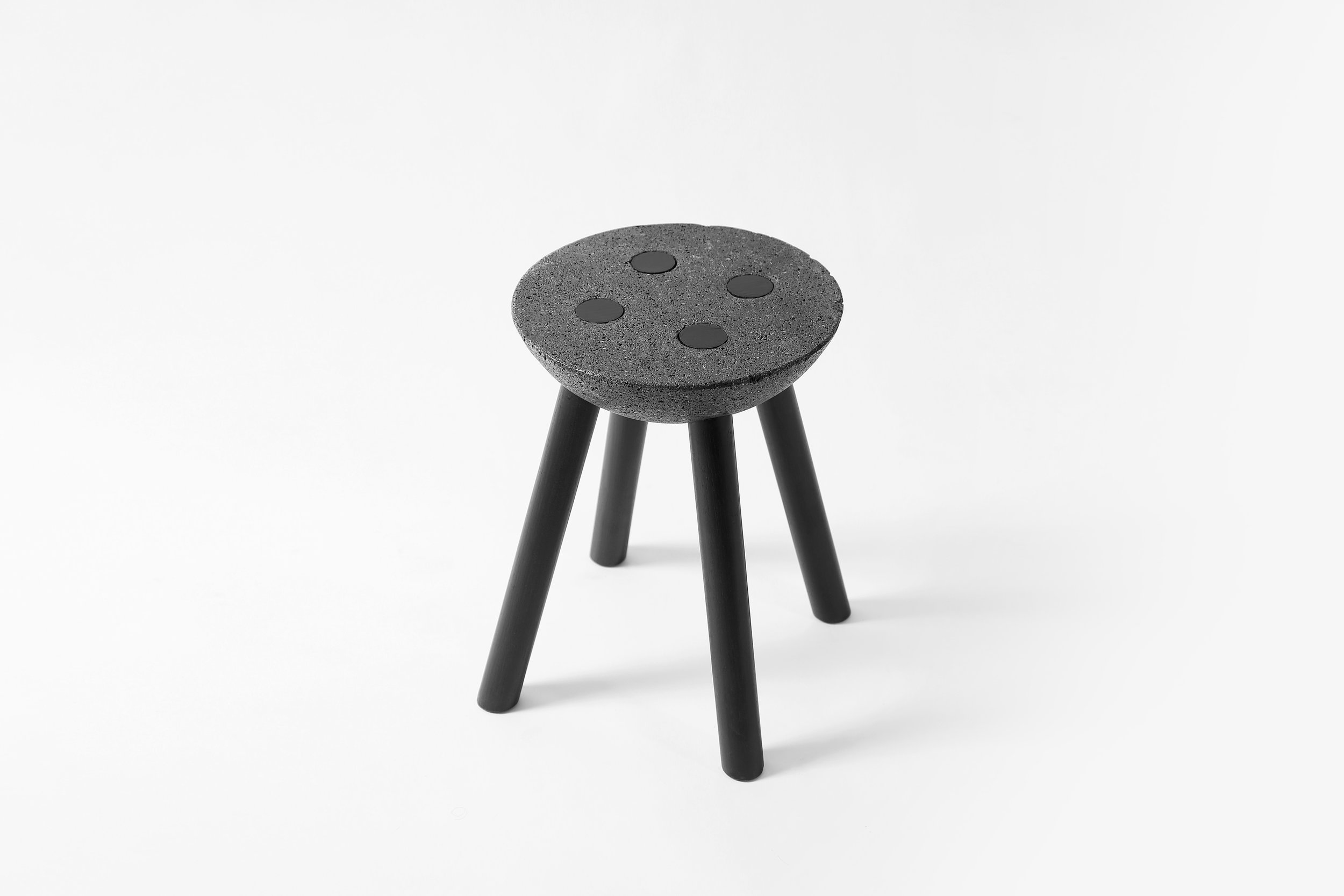 BASALTIC stool with black legs