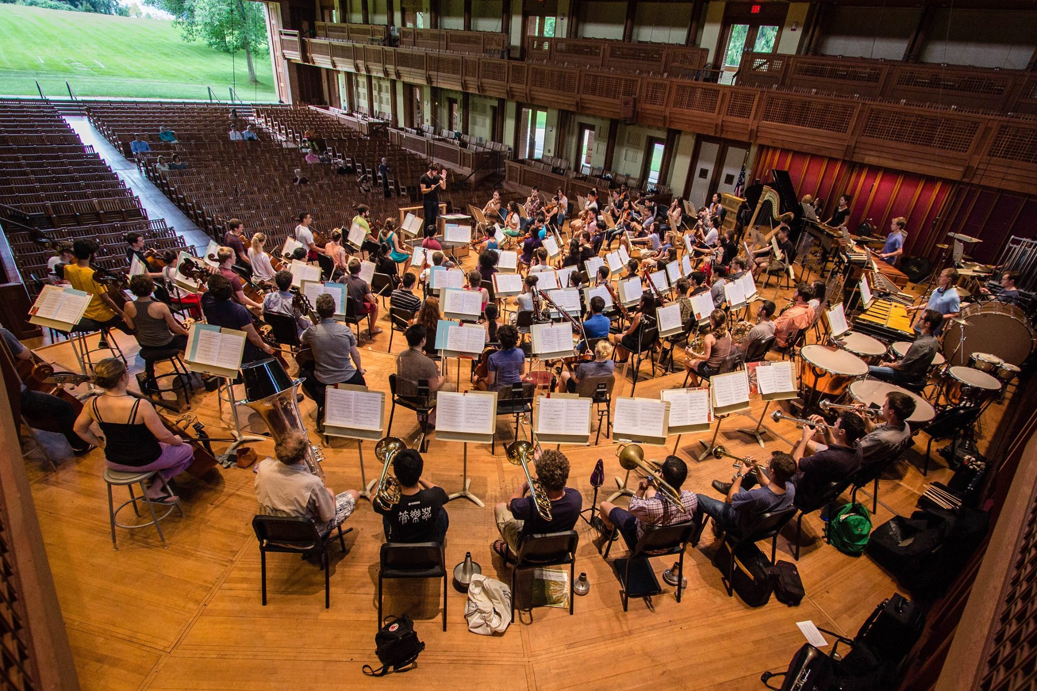 The Tanglewood Music Center Orchestra in rehearsal for the first Festival Of Contemporary Music Orchestra concert in Seji Ozawa Hall.