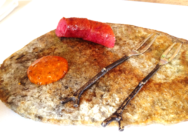 """The """"Beetfurter"""" with carrot ketchup. Ingenious and Senstaional."""