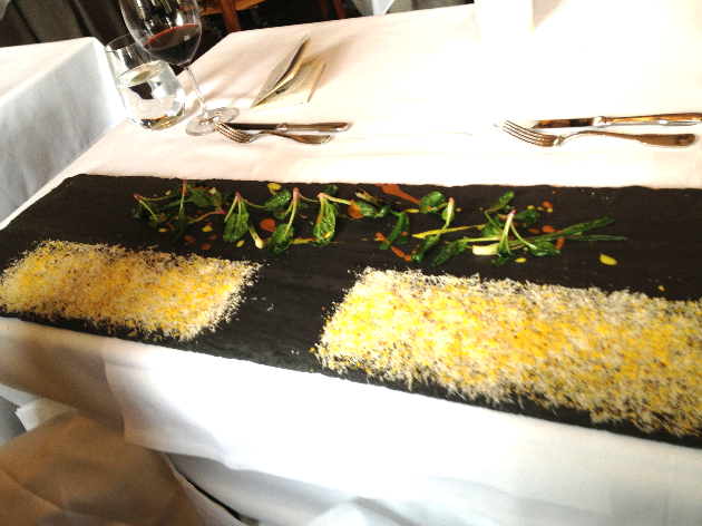 Charred scallions and parmesan.