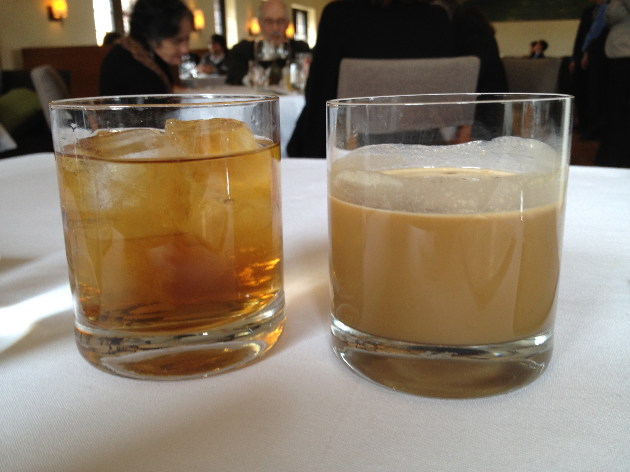 """Cocktails. The one on the right is called the """"Peanut Butter Flip"""". It's like a Reese's Peanut Butter Cup in cocktail form. Awesome!"""
