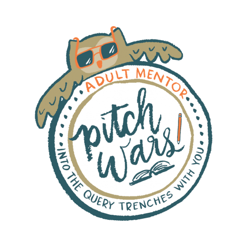 """A cartoon owl poking its head up behind a badge reading, """"Adult Mentor, Pitch Wars: Into the query trenches with you!"""""""