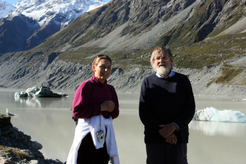 My friend Vickay chatting with a gentleman from Europe who hiked the Hooker Valley Trail in Aoraki / Mt. Cook National Park in New Zealand.
