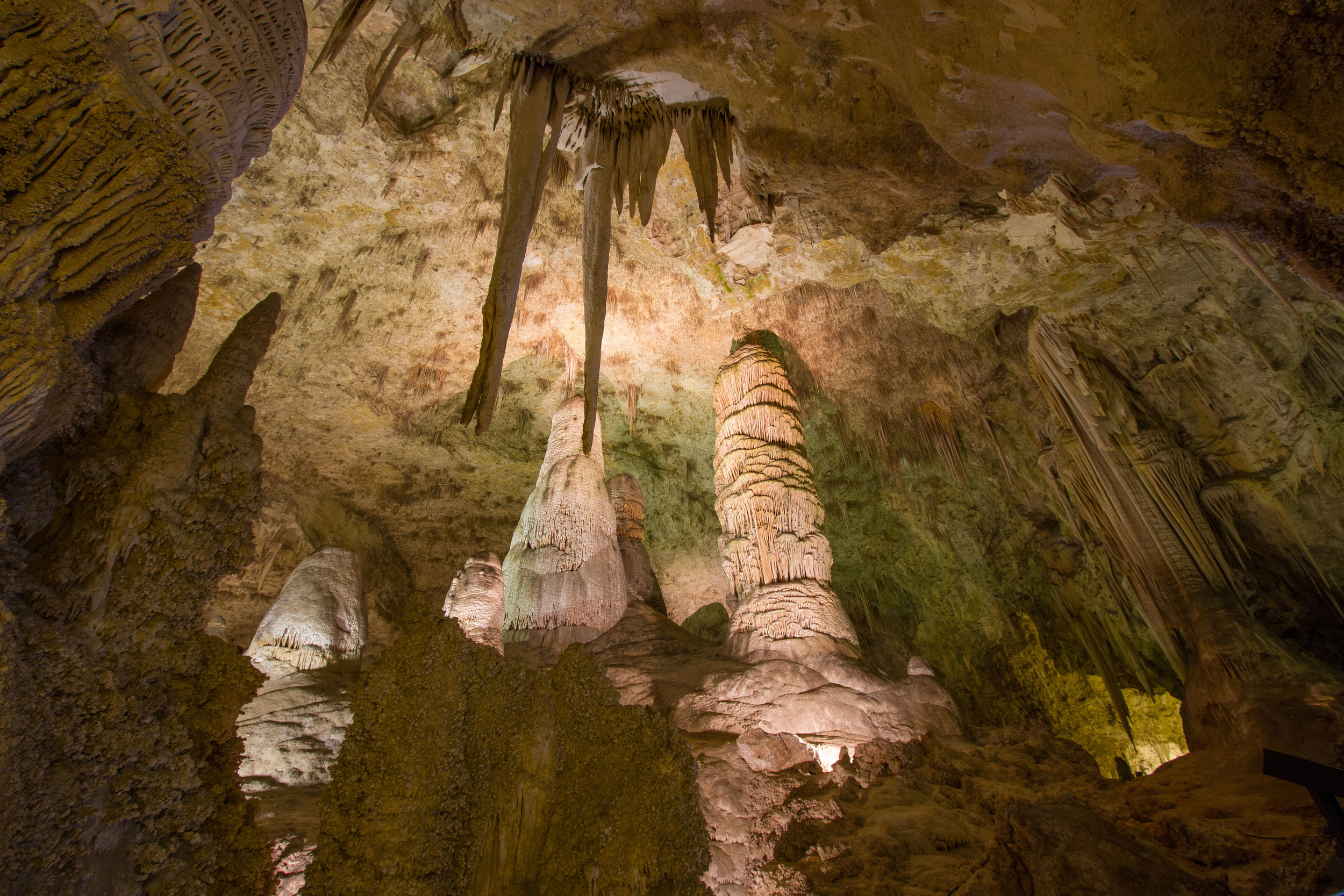 The Twin Domes in the Hall of Giants is one of the many underground marvels located in the Big Room at Carlsbad Caverns. The largest of the two domes stands 62 feet high.