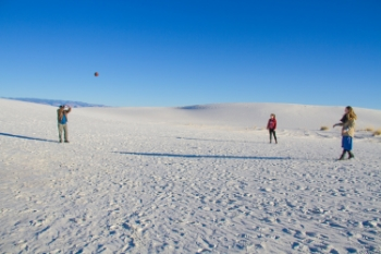 The Proctor family plays football at White Sands National Monument, New Mexico.
