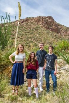 Family portrait time at McKelligon Canyon in El Paso, TX.
