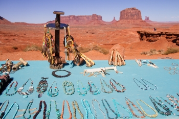 The Navajo sell jewelry and other handmade items along Valley Drive.