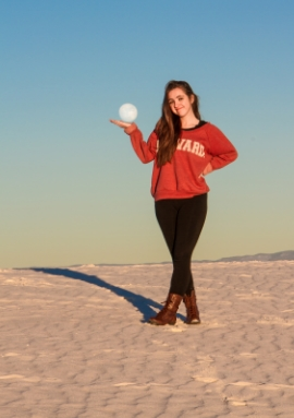 Helen Proctor holds a full moon at White Sands National Monument, N.M. A schedule of the park's several full moon programs can be found on the National Park Service's website.