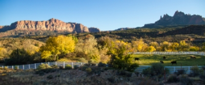 This is the scene from Springdale as you near the southern gate entrance in Zion National Park.