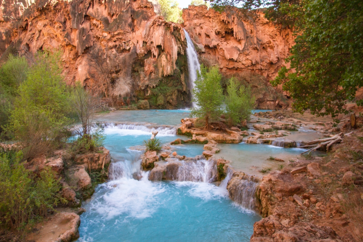There are several pools at the base of Havasu Falls that are fit for swimming.  What beautiful fun!