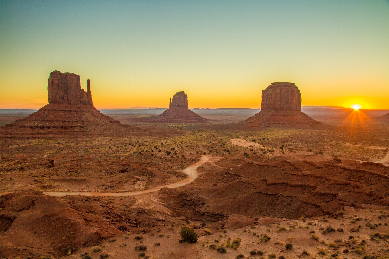 Monument Valley as seen from the Observation Deck next to The View Restaurant.