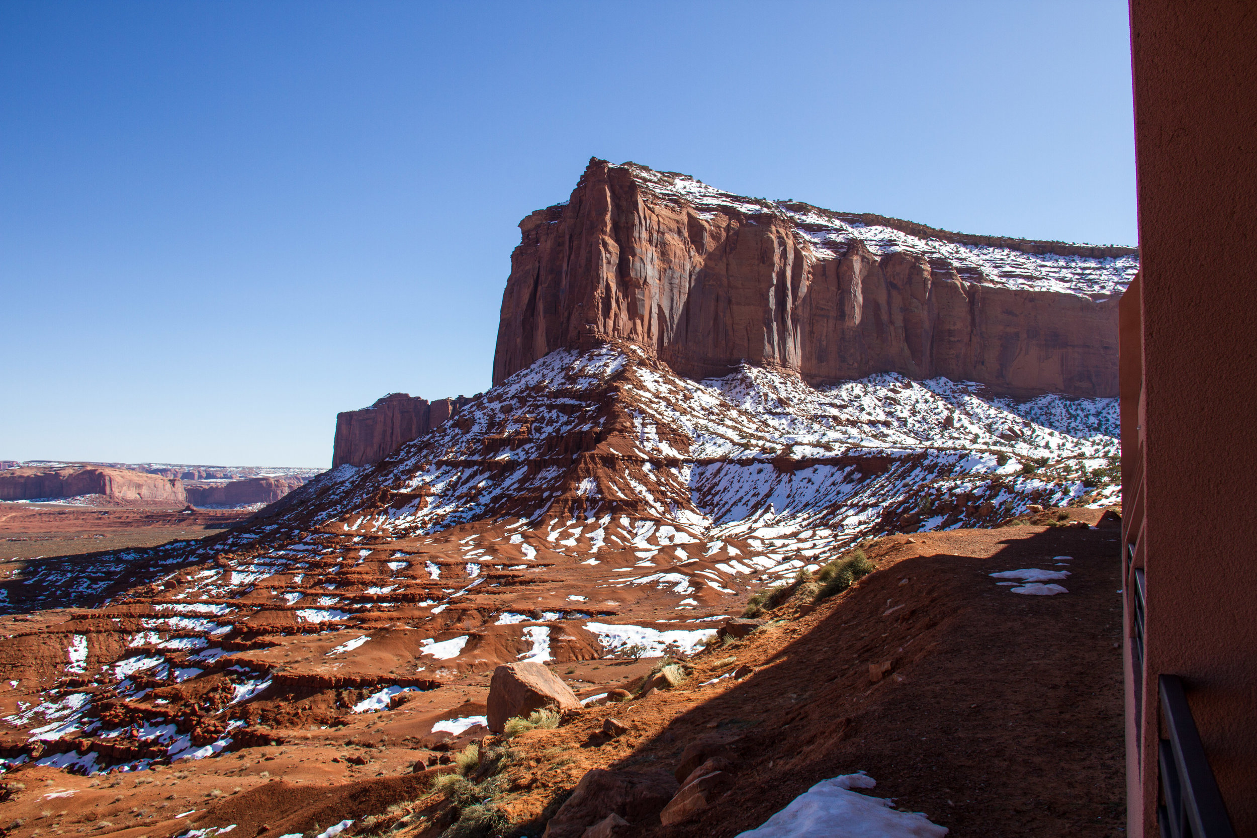 """Up close and personal view of Monument Valley from my 1st floor  """"Valley View""""  room."""