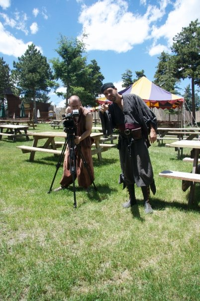A beautiful Spring day at Colorado Renaissance Festival. Film makers Chris Durham (left) and Glenn Bailey (right) set up for an interview.