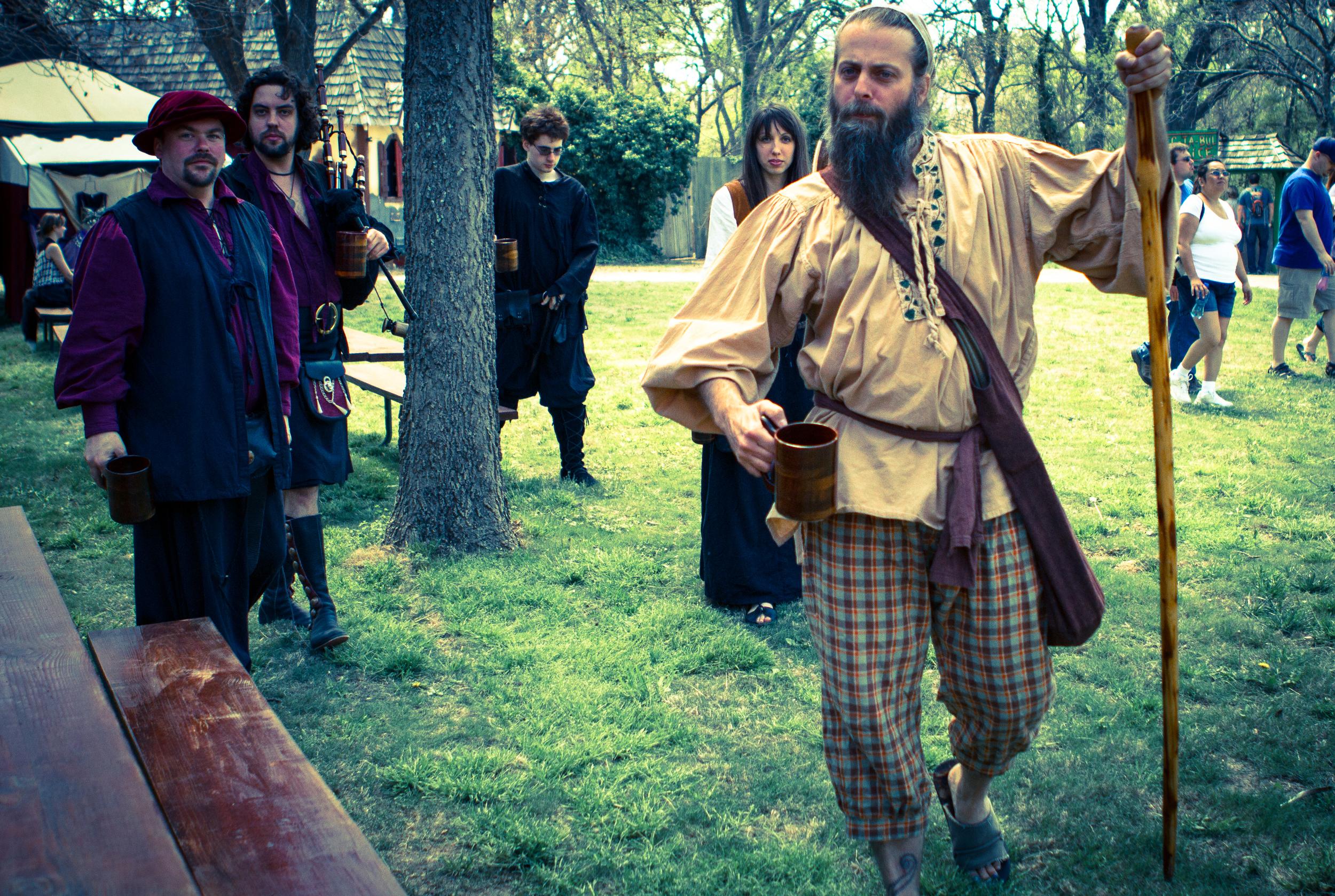 Clan GroggTroll Ambling through Scarborough Faire. Left to Right: Eric, Glenn, Ephraim, Kristin, Robbie