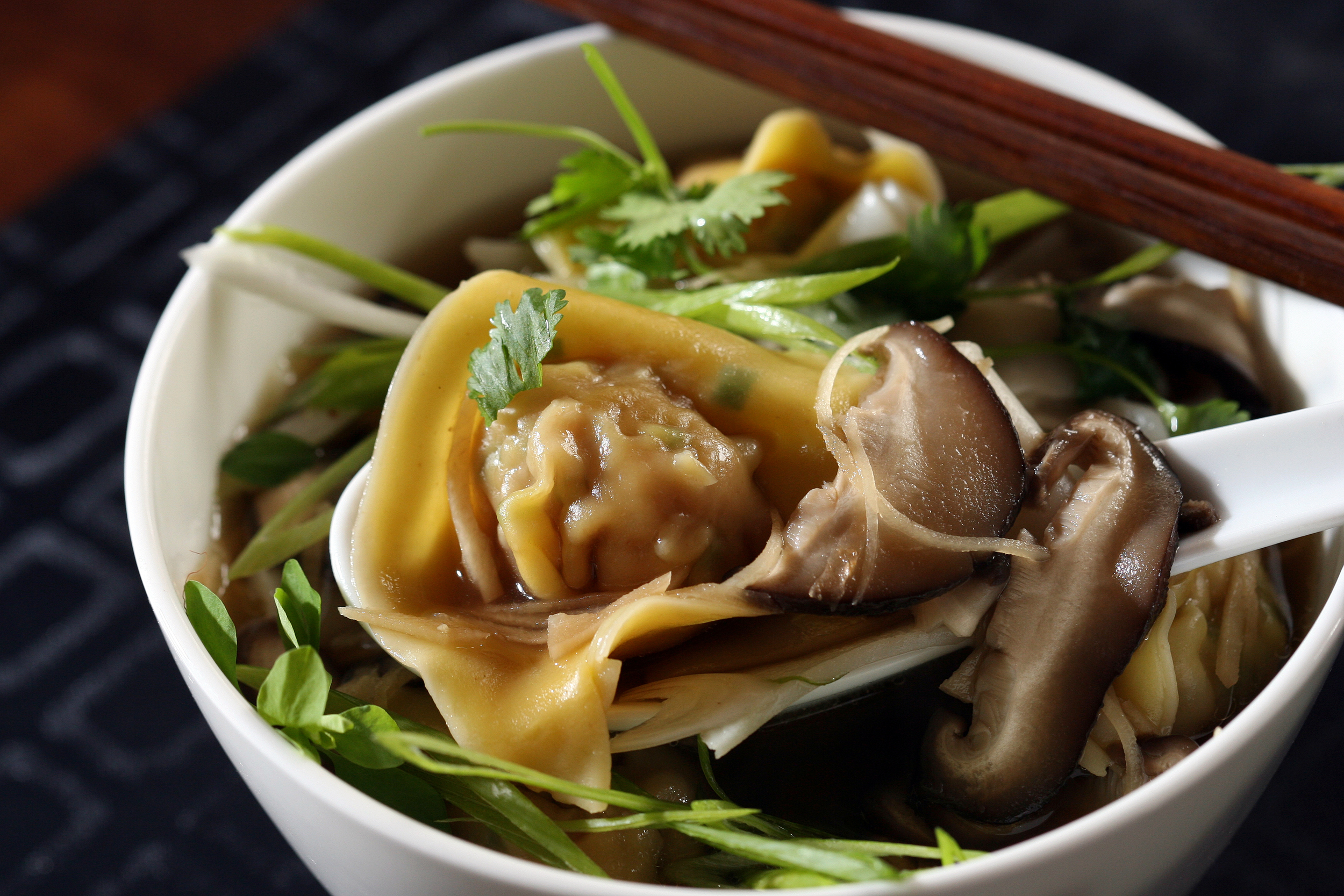CHINESE COMBINATION SOUP WITH RICE NOODLES AND PORK AND GARLIC CHIVE DUMPLINGS