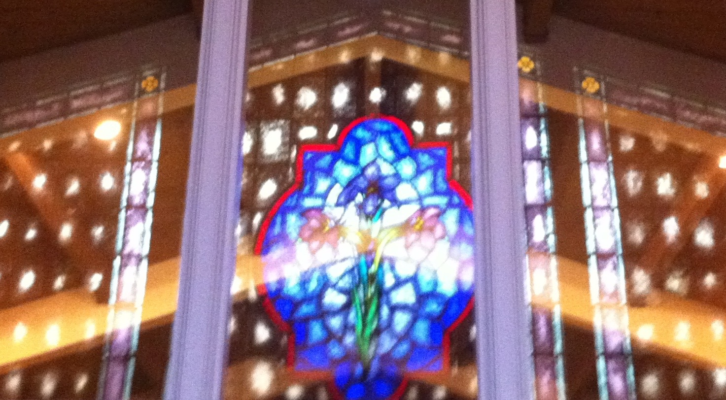 Reflection of a stained glass window, Walker Chapel, First United Methodist Church, Ventura, California