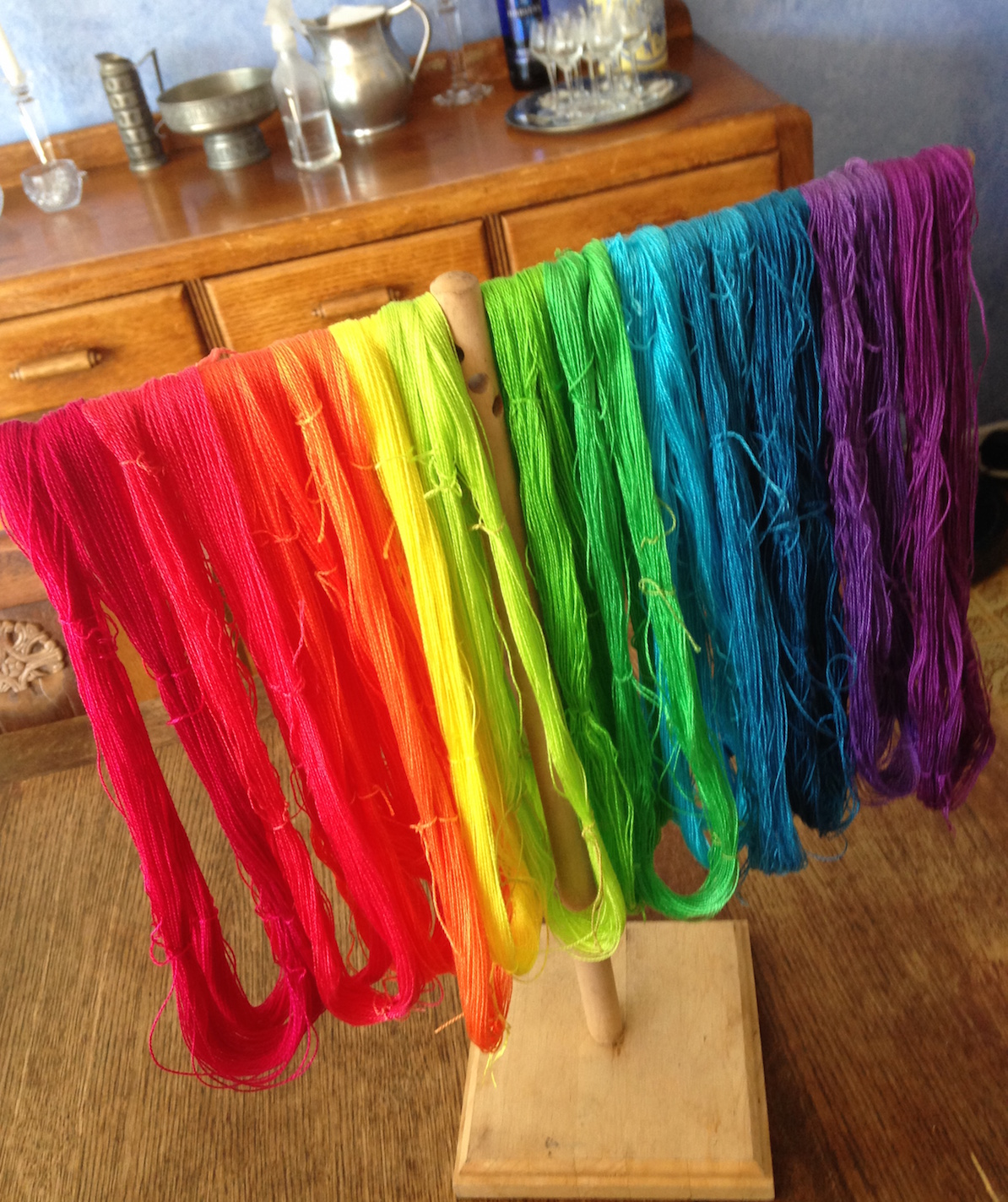 A rainbow of hand-dyed yarn for my next weaving project.