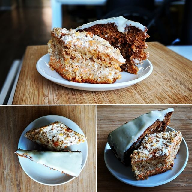 Today in the office we had a carrot cake battle between 2 carrot cakes. Everyone voted and it's a tie. What do you think?