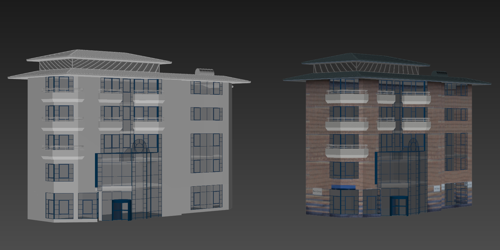 In this example the existing building is modeled with low level of detail. The windows are separate geometry with simple win-frames. The balconies are modeled because the camera position is close and convex geometry gives sense of depth. The brick texture is stitched from multiple photos.