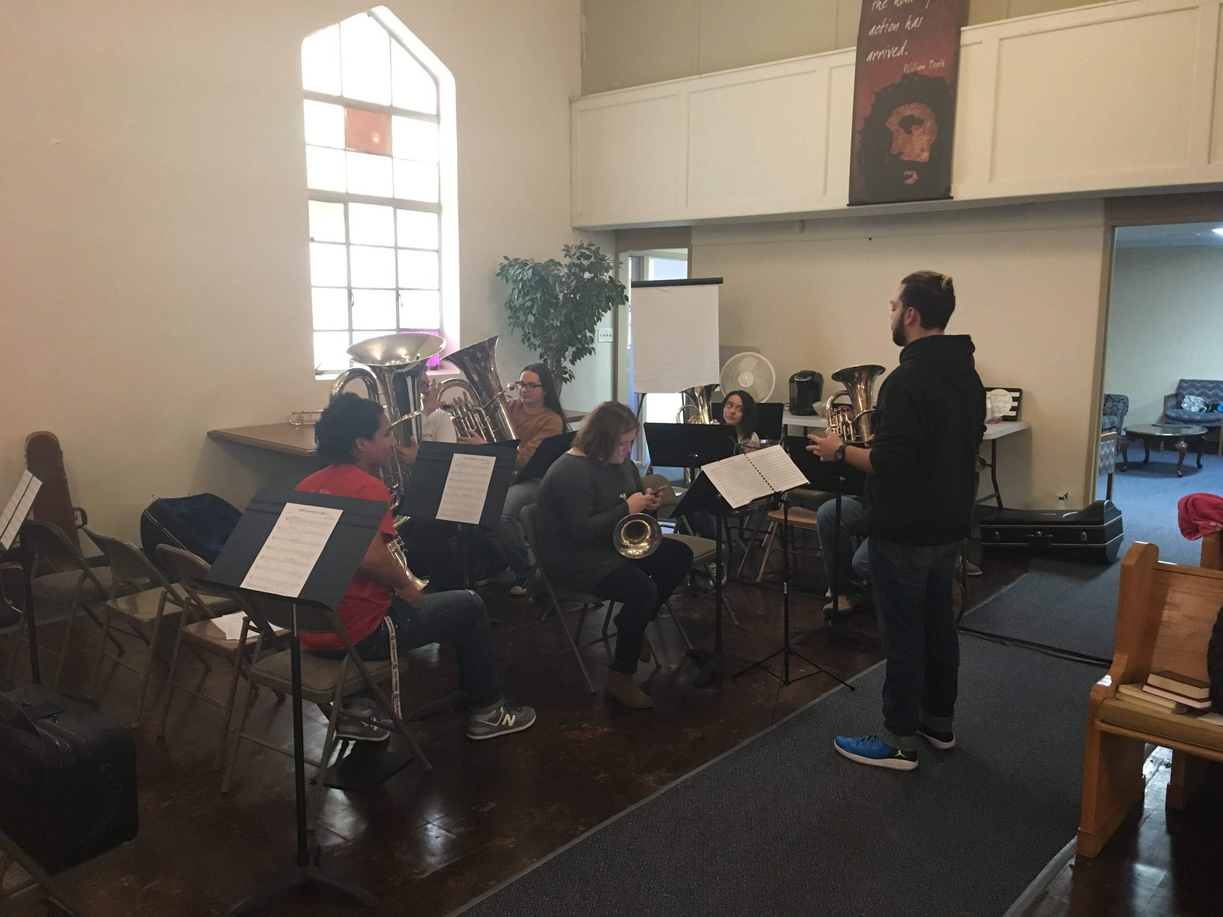 AJ Mitchell led the Brass Band clinic.