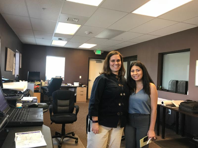 Kathryn Sims (left) shared about her job as an engineer at Van Doren Sales with WAEF student Elizabeth Ruldo.