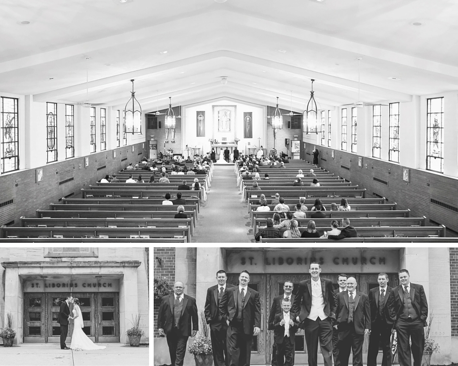 """""""We loved our ceremony venue."""" St. Liborius was the church that Carolyn had grown up in, and had been attending since she was nine years old."""