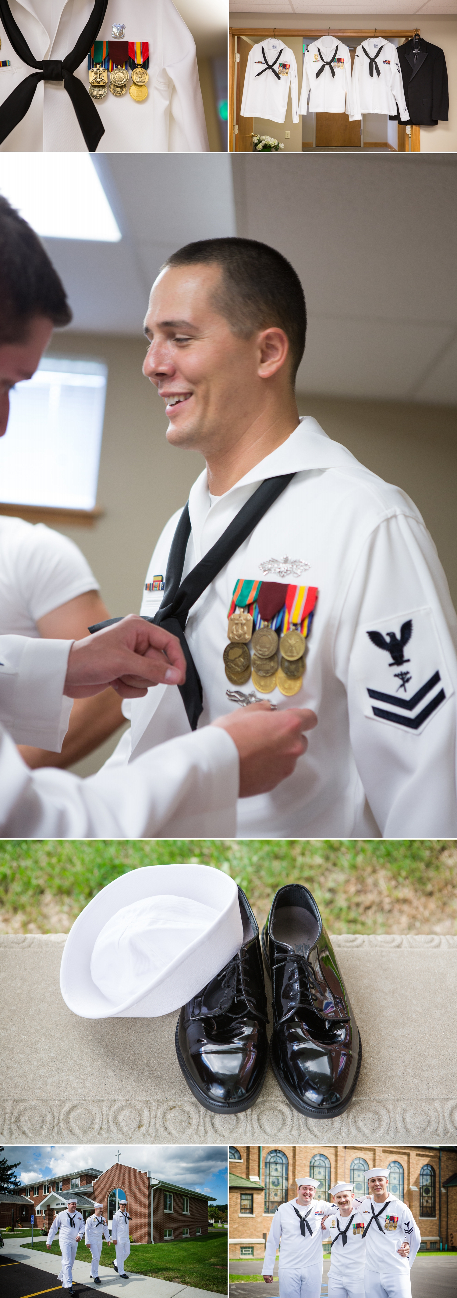 """The bride's father and ushers wore tuxes from Dunhill and the groomsmen and groom wore their Navy Uniform """"Dress Whites"""". They were meticulous about how their medals and pins were positioned and I loved hearing about what each one represented."""