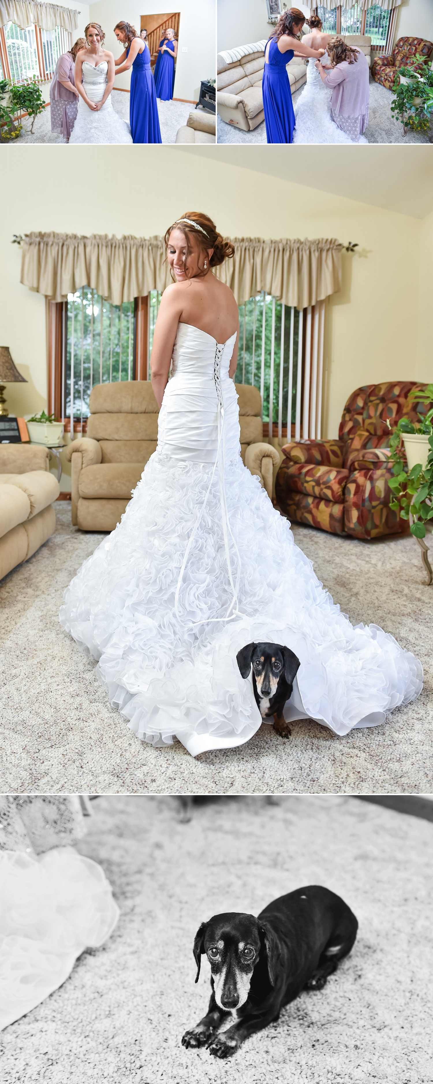"""""""I was unsure at first if it was """"the dress,"""" my mom told me it is totally you! It's fun and its just you, fits your personality!""""  The bridesmaids chose their own gowns from  Something Blue Bridal Boutique  and received  Nadri  earrings as part of their gifts from Brittney."""