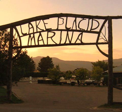 Lake Placid Marina twig signage