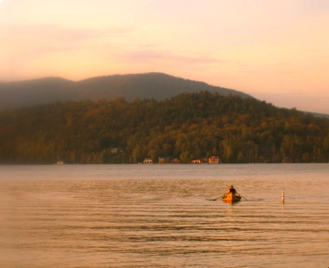 Canoeist on Lake Placid