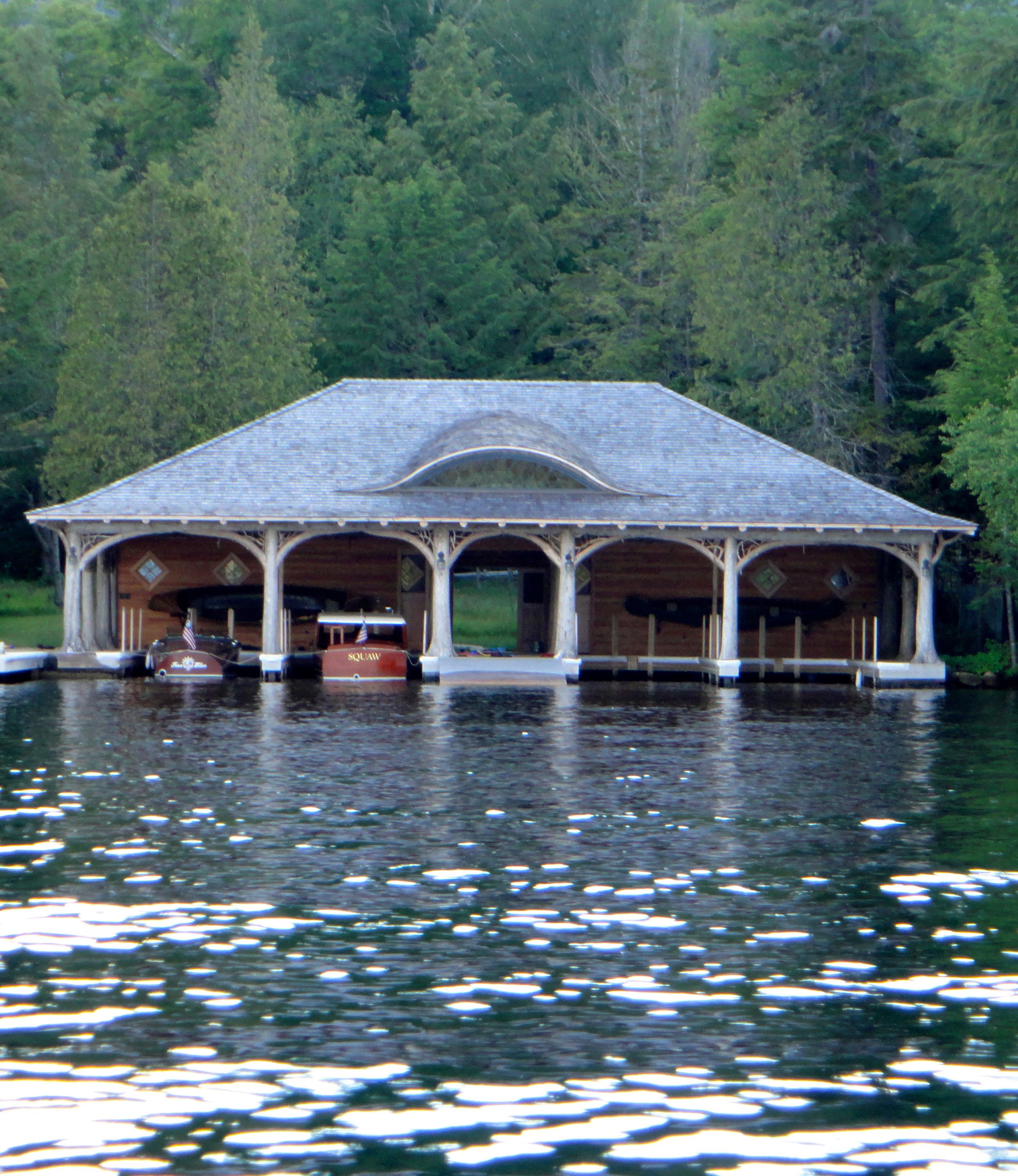 Gorgeous Adirondack boathouse on Placid Lake