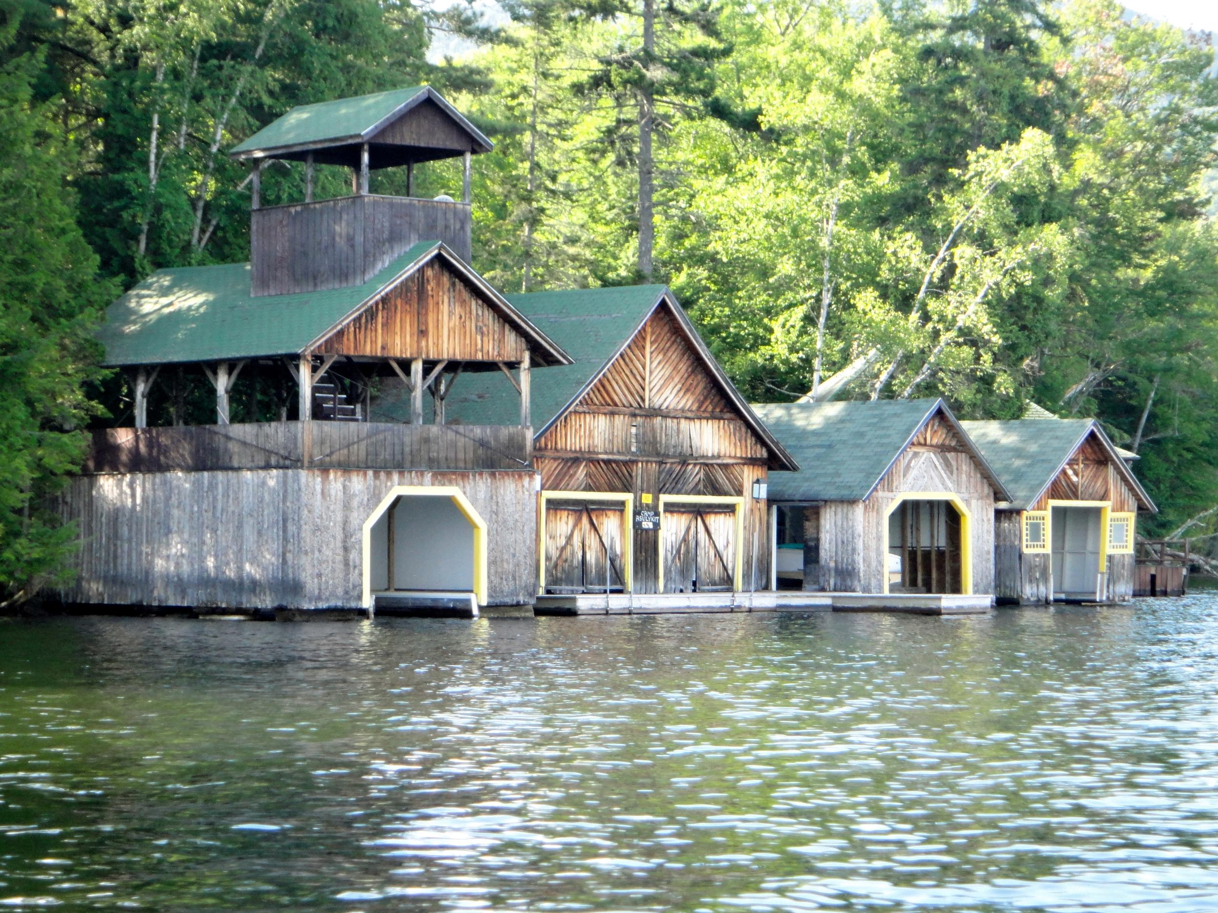 Boathouse camp on Lake Placid lake