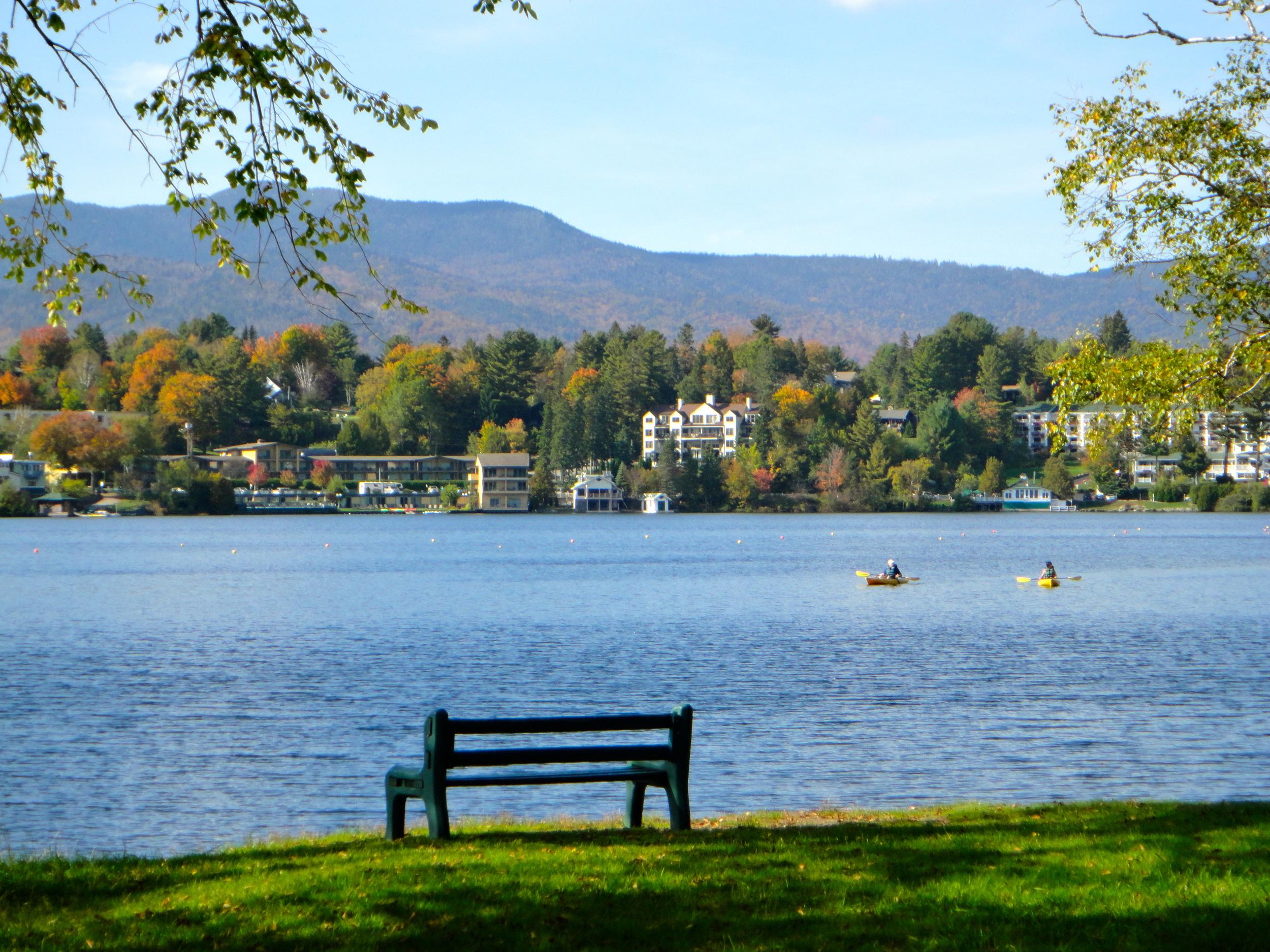 Popular lawn area on Mirror Lake