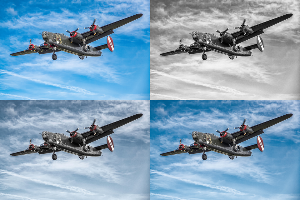 A few post processing choices for this photo of a B-24 bomber. Photo taken over San Luis Obispo, CA.