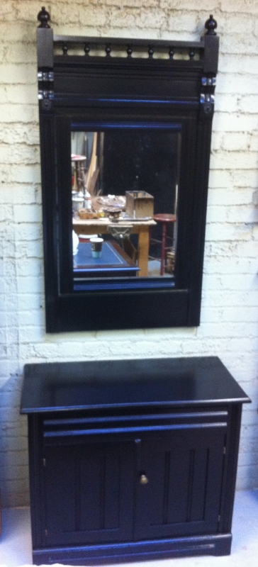 painted mirror and cabinet