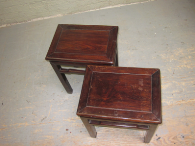 pair of iron wood tables