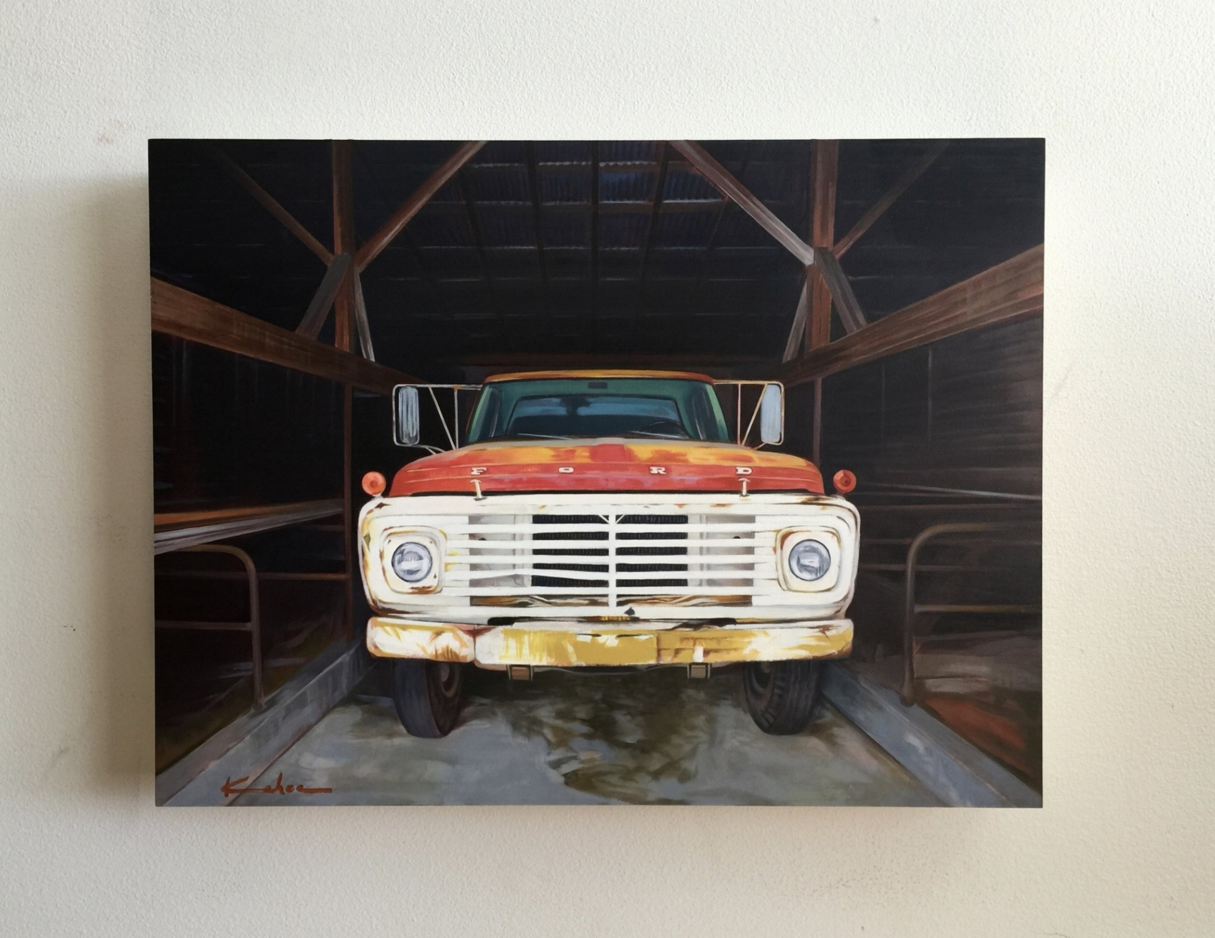 SOLD  Title: 68  12 X 16, Oil on Board  I found a beautifully faded 1968 Ford hiding in a barn in Midway, Utah one morning and ever since shooting it that image had been parked in my mind. As the small works show approached, I knew it would make a successful small painting.