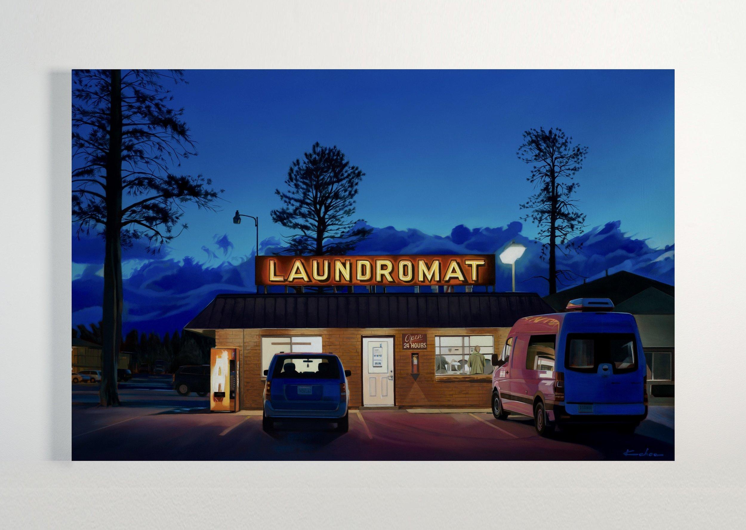 Title: LAUNDROMAT  26 X 40, Oil on Polylinen  Available at Altamira Fine Art in Jackson, WY
