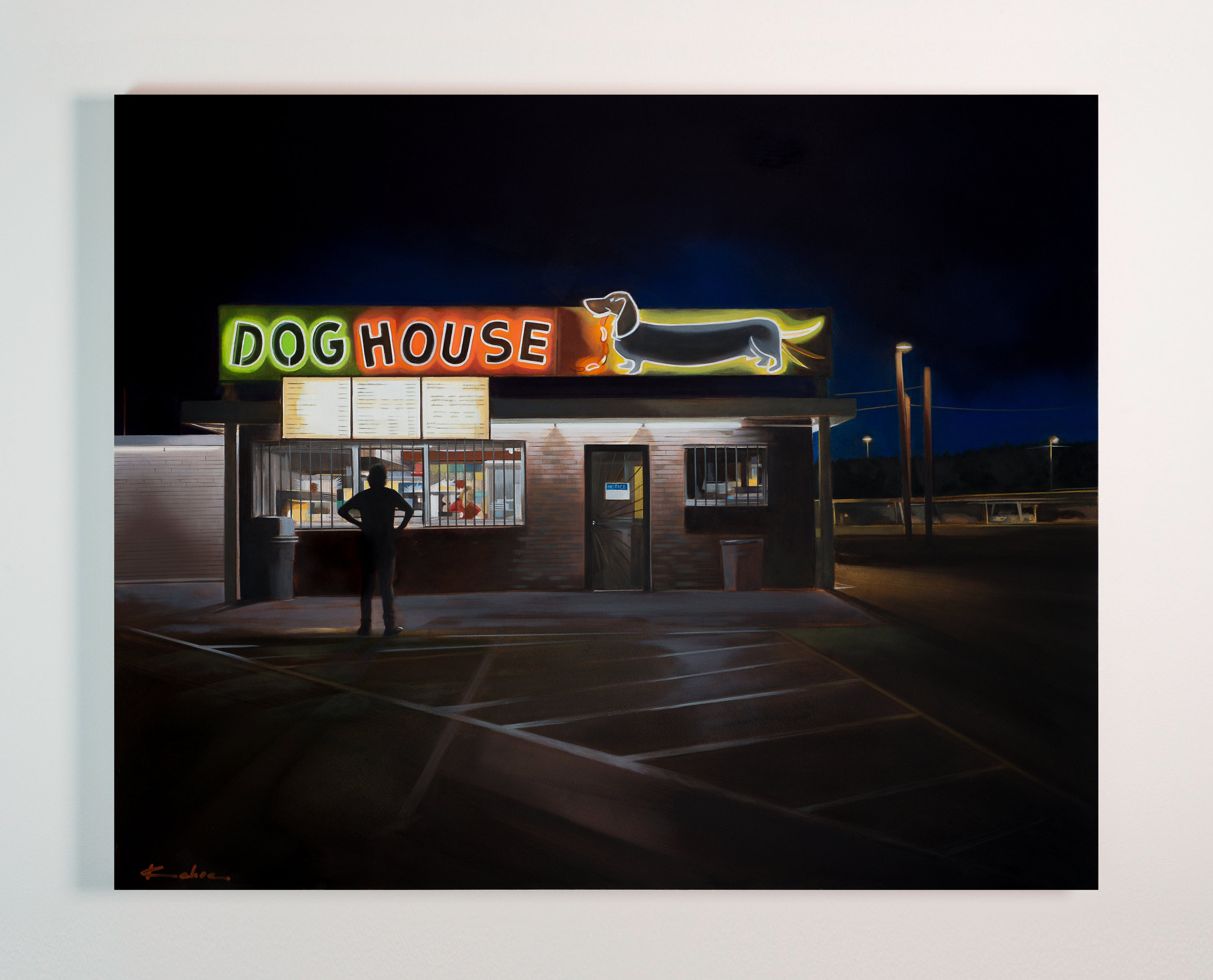 Title: DOG HOUSE  17 X 21, Oil on Board  SOLD